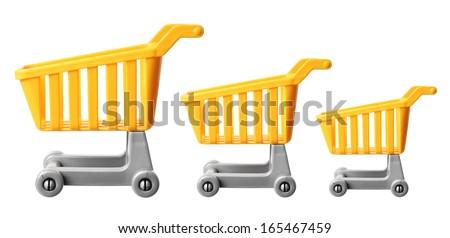 Miniature Shopping Trolleys on White Background - stock photo