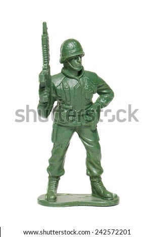 miniature toy soldier on white background - stock photo