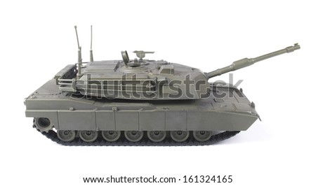 Miniature toy tank, isolated on white background