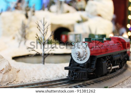 Miniature train in Santa's village - stock photo