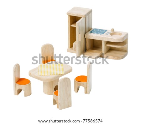 Miniature wooden kitchen toys for kid isolated on white - stock photo