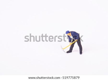 Miniature workers isolate on white background. copy space for placement your text