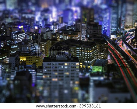 Miniature works at Tokyo Night scape - stock photo