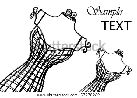 Miniature wrought iron dress forms on white background with copy space.  Macro image in black and white. - stock photo