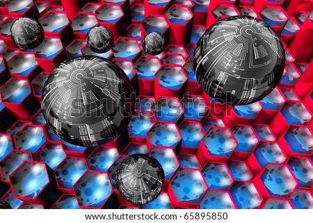 Miniaturization of electronics. Nano electronics - micro computer - stock photo