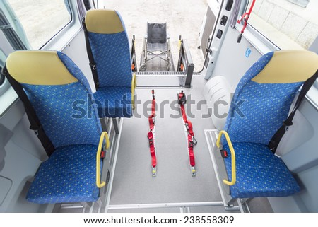 Minibus for physically disabled people. - stock photo