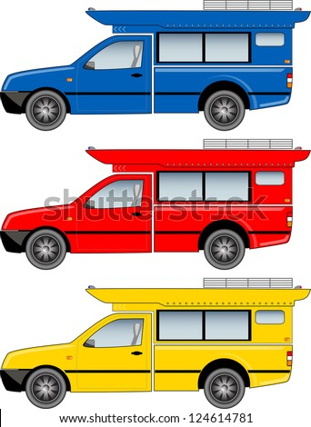 Minibus. Modify from mini truck. Popular transport in Thailand. - stock photo