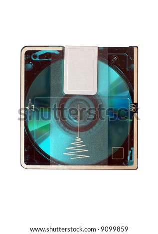 minidisc isolated on white - stock photo