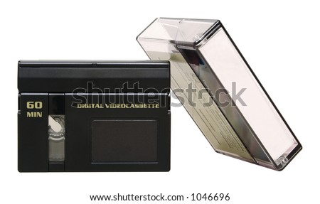MiniDV Tape with Case - Isolated - stock photo