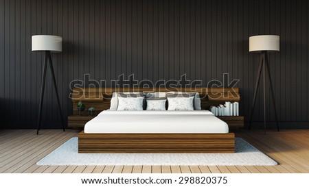 Minimal Bedroom / 3D Render Image - stock photo
