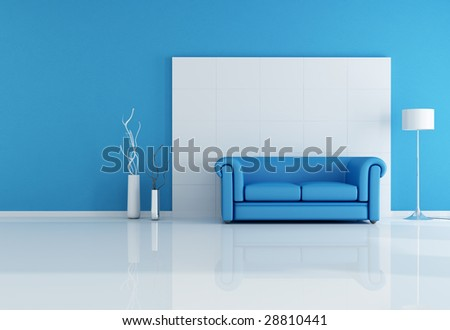 minimal blue interior with classic sofa -rendering