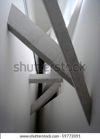 Minimal concrete interior beams in Berlin's Jewish Museum - stock photo