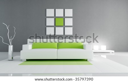 minimal contemporary living room - rendering - stock photo
