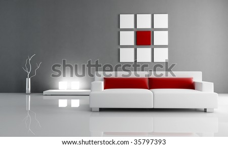 minimal contemporary red and white living room - rendering - stock photo