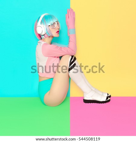 Minimal fashion Pop Art. Vanilla pastel colors. Girl DJ. Doll style. fitness vibes