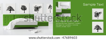 minimal green bedroom - stock photo