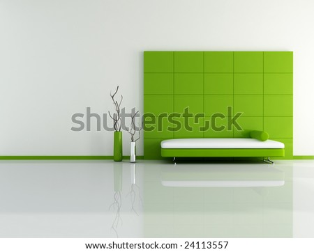 minimal green living room with sofa panel and vase - digital artwork - stock photo