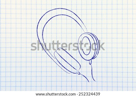 minimal headphone chalk illustration - stock photo