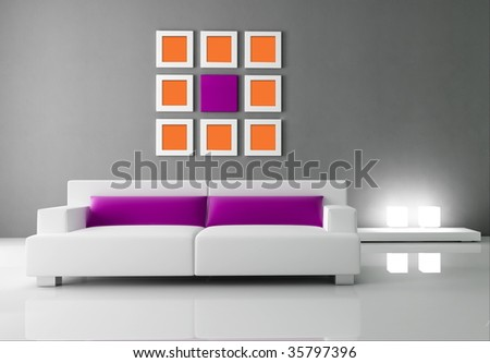 minimal interior with white and purple couch - rendering - stock photo