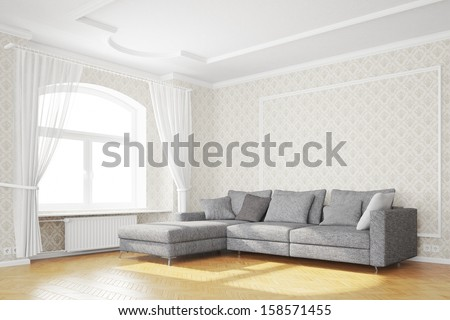 Minimal living room with sofa and white curtains - stock photo