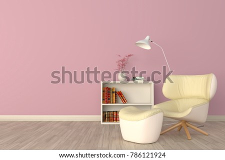 Minimal Pink Living Room Interior Yellow Stock Illustration ...