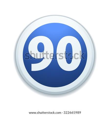 Minimal speed to 90 kilometers per hour traffic sign - stock photo