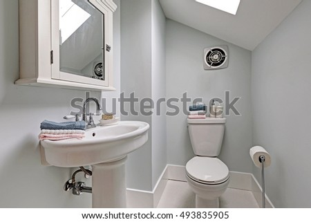 Minimal style bathroom interior in the attic. Northwest, USA