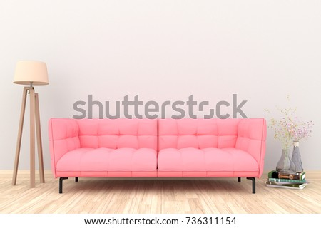 Minimal White Living Room Interior Pink Stock Illustration 736311154 ...
