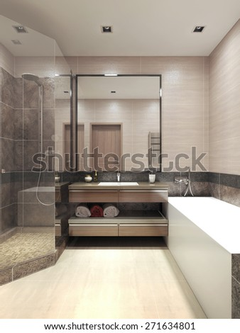 Minimalism bathroom interior. 3d render - stock photo