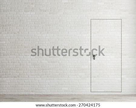 Minimalism door concept, 3d illustration - stock photo