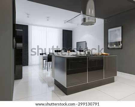 Minimalism style kitchen interior in monochrome tones. 3D render