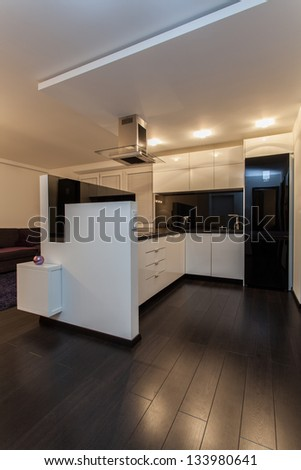 Minimalist apartment - kitchen with new contemporary appliances - stock photo