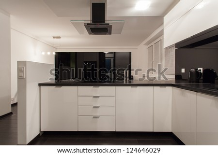 Minimalist apartment - small kitchen with view at living room