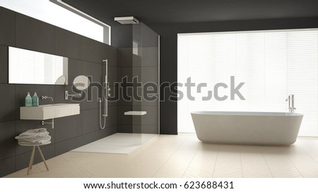 Minimalist bathroom with bathtub and shower, parquet floor and marble tiles, classic gray interior design, 3d illustration