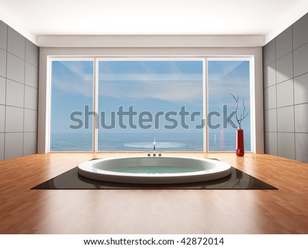 minimalist bathroom with big circular bathtub - rendering - the image on background is a my rendering composition - stock photo