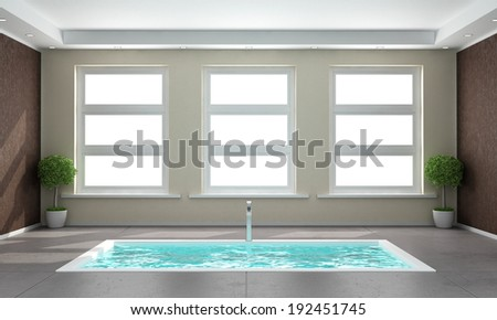 Minimalist bathroom with sunken bath in the concrete floor and three windows- rendering-  - stock photo