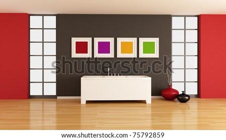 minimalist bathroom with white bathtub against black wall - rendering - stock photo