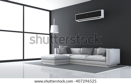 Minimalist black and white living room with sofa and air conditioner - 3d rendering - stock photo