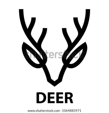 Minimalist Bold Line Icon Deer Head Stock Illustration 1064883971