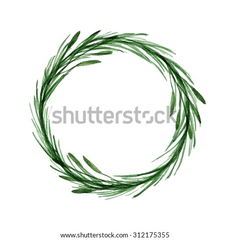 Minimalist botanical watercolor wreath illustration. Design element for wedding invitation, greeting card, logo, tag, label. - stock photo