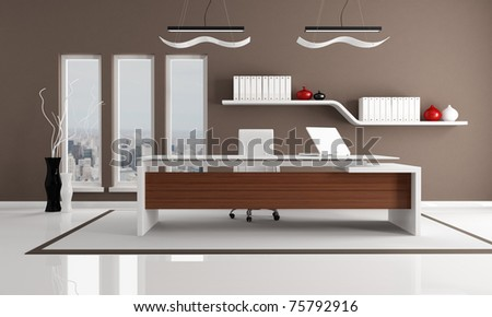 minimalist brown and white city office - the image on background is a my photo new york 2008 - stock photo