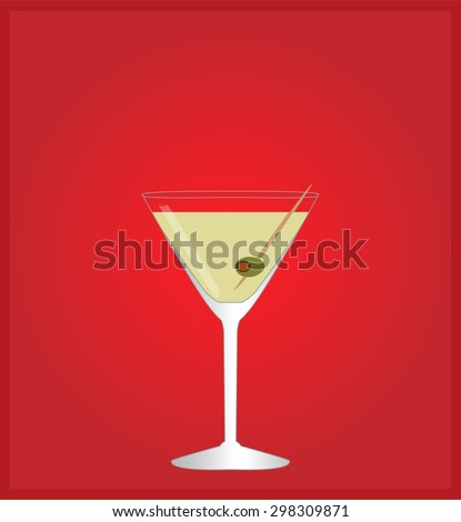 Minimalist Drinks List with Martini Red Background - stock photo