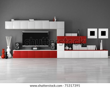minimalist empty living room with cabinet  and lcd tv - stock photo
