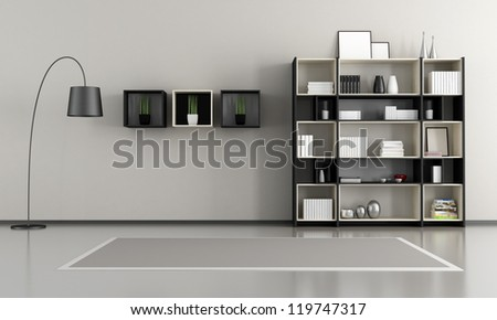 Minimalist Empty Livingroom With Bookcase