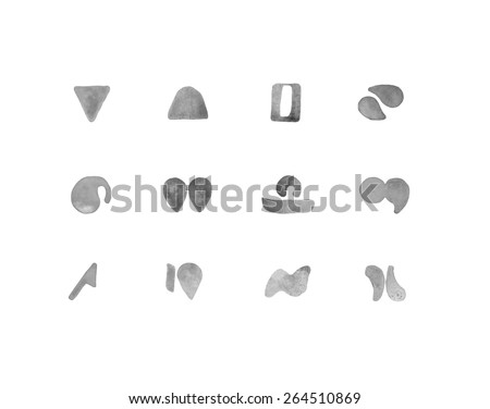 Minimalist glyphs representing the signs of the zodiac on a white background. - stock photo