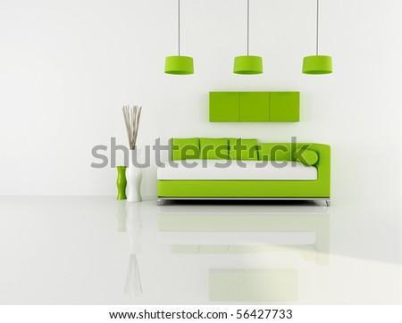 minimalist green and white interior - stock photo