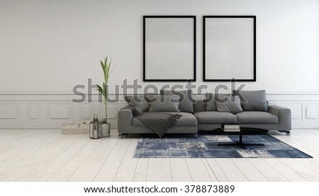 Minimalist grey and white living room interior with a comfortable upholstered couch below two large empty picture frames hanging on a white wall. 3d Rendering. - stock photo