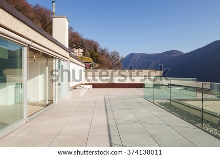 Minimalist house, modern terrace - stock photo