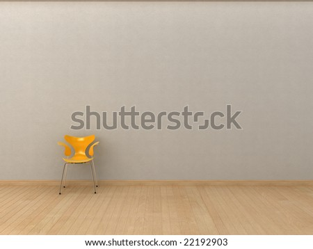 Minimalist interior visualisation. - stock photo