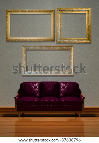 Minimalist interior visualization with set of empty frames. - stock photo